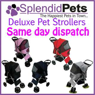 Big 4 Wheel Pet Dog Cat Stroller Puppy Pram Pushchair   Pink Blue