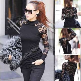 Womens Long Sleeve Polo Neck Sexy Clubwear Party Cocktail Lace Mini