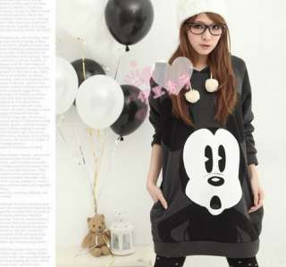 New Korea Women Cartoon Mickey Mouse Hoodie Long Top Outerwear ZGX73G