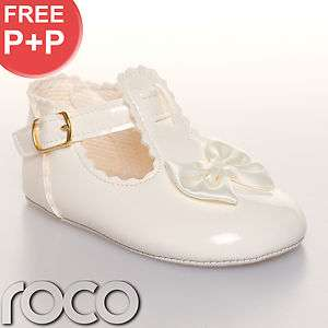 CHEAP BABY GIRLS IVORY BOW SHOES CHRISTENING BRIDESMAID WEDDING 0   18