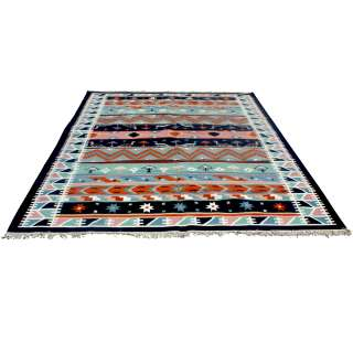 9ft x 11ft Indian Dhurry Hand Woven Wool Rug