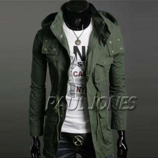 PJ Men's Stylish Slim Fit Jackets Trench Coats Hoody
