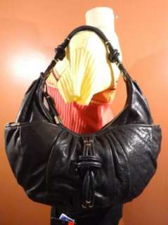 NWT Junior Drake SHELBY BLACK Italian Leather Handbag Purse Hobo