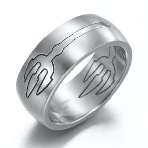 Mens Devil Trident Stainless Steel Ring Silver Band 8mm (10) Jewelry