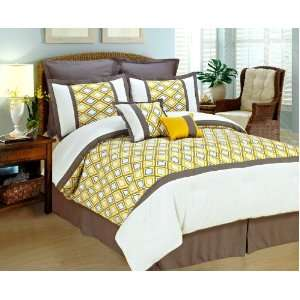 COMFORTER SET Yellow White Gray BED IN A BAG   FULL SIZE BEDDING With