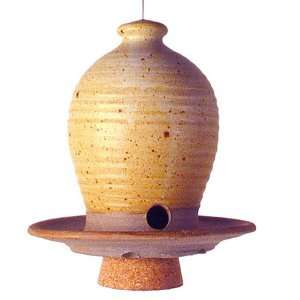 Beehive Hanging Bird Seed Feeder   Handthrown Stoneware Pottery