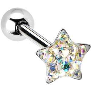 Dome Aurora Star Gem Barbell Tongue Ring Jewelry