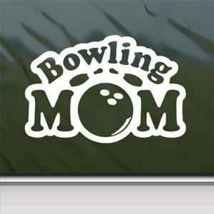 Bowling Mom White Sticker Car Laptop Vinyl Window White