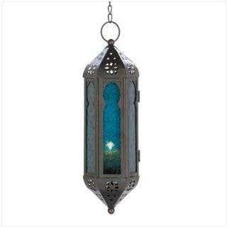 Ocean Blue Glass Azul Serenity Hanging Candle Lantern