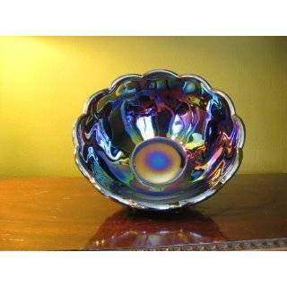 Cobalt Blue Carnival Glass Footed Dahlia Lemonade Pitcher