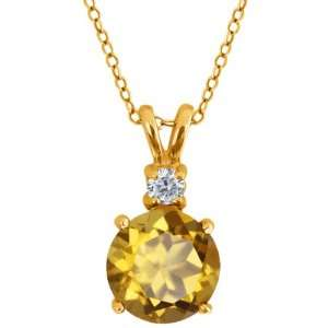 Round Champagne Quartz and Diamond Gold Plated Silver Pendant Jewelry