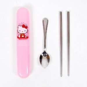 Hello Kitty Steel Spoon Chopsticks Box Case Pink  Kitchen