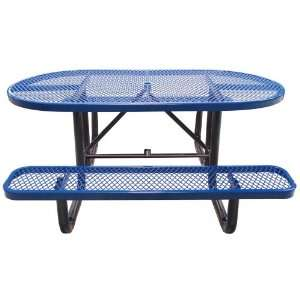 Leisure Craft Commercial 6 ft. Oval Expanded Metal Picnic