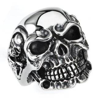 Mens Stainless Steel Skull with Top Hat Ring   Size  10