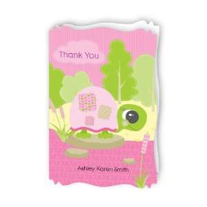 Pink Baby Turtle   Personalized Baby Thank You Cards With