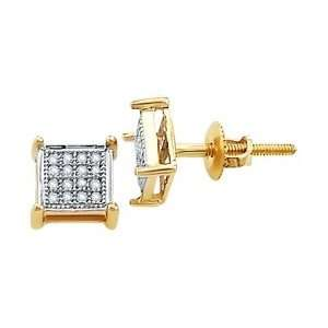(1/10 Ctw) 10k Yellow Gold Diamond Earring Studs