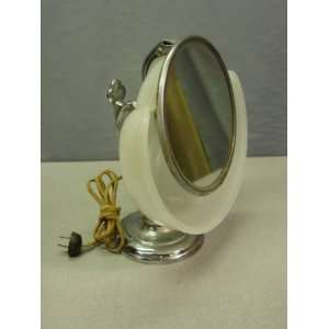 Vintage 1930s Art Deco Lighted Chromed Metal Glass Mirror
