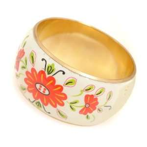 Kate Spade Style Spring Flower Enamel Bangle Bracelet
