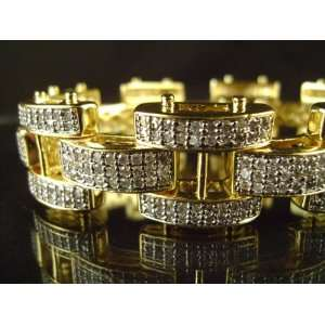 MENS 14K GOLD FINISH DIAMOND SIMULATE BRACELET 9 NEW