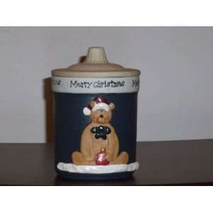 Merry Christmas Teddy Bear Candle Holder