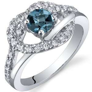 Rhythmic Harmony 0.50 Carats London Blue Topaz Ring in Sterling Silver