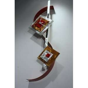 Painting on Metal Sculpture Abstract Wall Art Clock