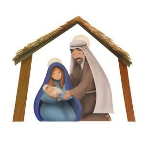 14 piece full color Nativity scene wall decals stickers