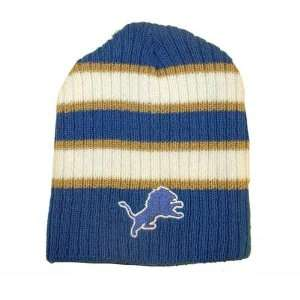 Lions Wide Stripe Knit Beanie   Officially Licensed NFL (National