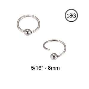 316L Surgical Steel Nose Ring Hoop Captive Bead Ring 5/16   8mm 18G
