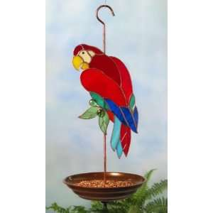 Parrot 3 Dimensional Stained Glass Bird Feeder Pet