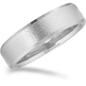 Promise Wedding Band with Frosted Finish and Beveled Edges Jewelry