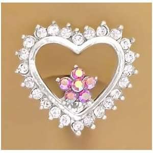 Cz Clear Heart w/Pink Flower Reverse Belly navel Ring piercing bar