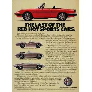 1985 Alfa Romeo Red SPIDER Veloce Vintage Sports Car Ad   Original