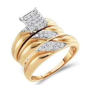 Trio Diamond Engagement Rings Set Wedding Bands Yellow Gold 1/3 ct
