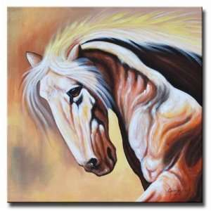 White Stallion Hand Painted Canvas Art Oil Painting