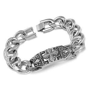 Stainless Steel Celtic Cross Curb Link Chain Bracelet Size 10 Jewelry