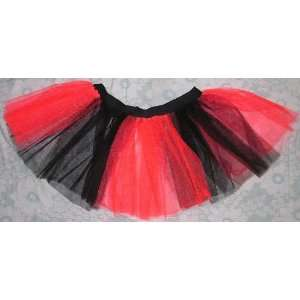 Red Black Tutu Skirt Stripe Petticoat Rave Dance Lady Bug Fancy Dress