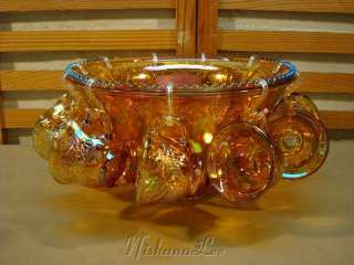 INDIANA GLASS PRINCESS AMBER CARNIVAL GLASS PUNCH BOWL SET