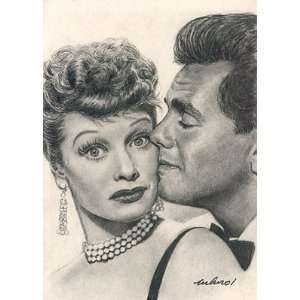 Lucille Ball / Desi Arnaz Portrait Charcoal Drawing Matted