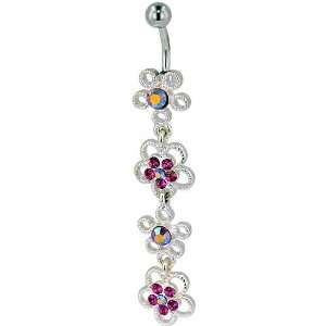 Belly Button Rings Pink Gem Flowers Dangle Navel Rings