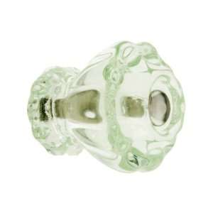 Medium Fluted Depression Green Glass Cabinet Knob With Nickel Bolt.